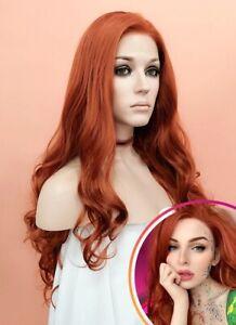 Auburn Orange Wavy Lace Front Synthetic Wig Heat Safe Halloween Gift for Women