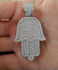Hamsa Hand Judaica Kabbalah Charm White Sapphires Pendant 925 Sterling Silver