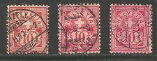 Switzerland #73, 73a, 73b (A19) FVF USED - 1882 10c Numeral Of Value