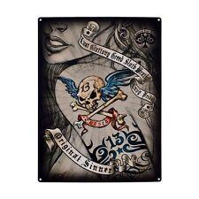Original Sinner, Tattoo Lady, Ink, 7 Deadly Sins, 13 Skull Medium Metal Tin Sign