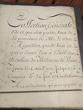 Manuscrit d'époque 18eme-actes de la procédure de justice du Duc d'Aiguillon