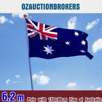 6.2 M Australian Aussie Flag Pole Aluminium Flagpole Full set Kit AU stock