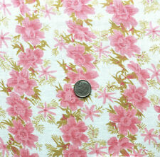 """Vintage Cotton Full Feed Sack 1930's Pink Floral w/Chartruise Accents 44"""" x 36"""""""