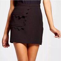 Victoria Beckham for Target Black Twill Skirt with Scallop Trim Pocket sz Large