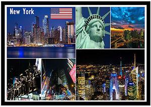 NEW YORK, USA - SOUVENIR NOVELTY FRIDGE MAGNET - SIGHTS / FLAG / NEW / GIFTS