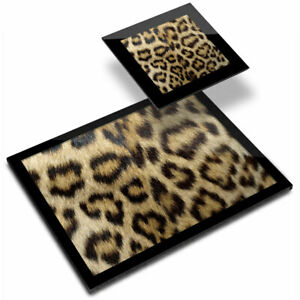 Glass Placemat  & Coaster - Wild Animal Print Leopard Cat Fur  #46431