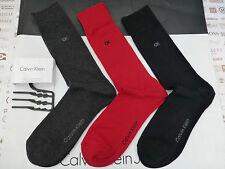 Calvin Klein Calcetín Negro/Rojo Vestido Formal Lujosas de Algodón Calcetines tripulación 3p/p BNIP RRP £ 22