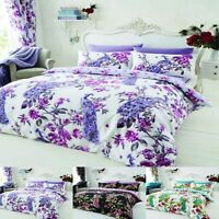 Duvet Cover Set With Pillow Case Bedding Single Double Super King Size & Curtain