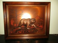Vintage Framed Embossed Bear Picture / 3-D Art Creations On Pure Copper