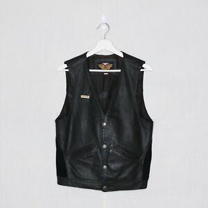 Vintage 90's Harley-Davidson Leather Vest + Metal Harley Pin