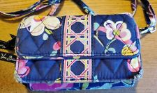 VERA BRADLEY Clutch Handbag Amy ITSY DITSY FLORAL Navy Blue Quilted Crossbody