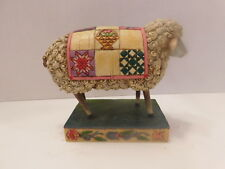 Jim Shore 2003 Peace In The Valley Curly Sheep With Quilt #117141 Euc