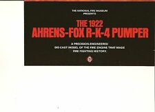 (NO TRUCK)-FRANKLIN MINT SALES BROCHURE ONLY  FOR A 1922 AHRENS FIRE TRUCK 1:32