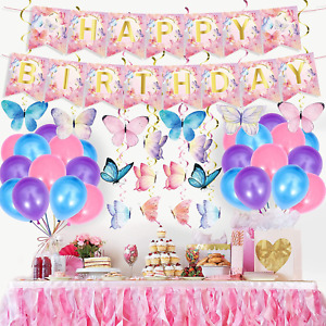Butterfly Birthday Party Decoration,Butterfly Party Supplies With Hanging Theme