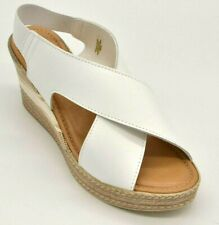 Bella Vita Womens Bec Italy Leather Sandal Size 9.5 Wide Wedge White New