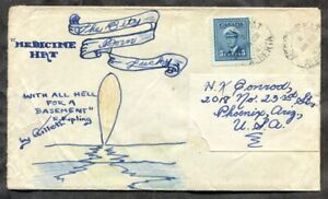 p1511 - MEDICINE HAT Alberta 1947 Hand ILLUSTRATED Cover to USA. 5c War Issue ✉
