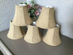 Beige Hessian Fabric Small Clip on Lamp/Light Shade-5 available #6419