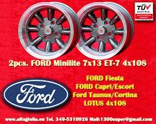 2 Cerchi FORD LOTUS TALBOT Minilite 7x13 ET-7 4x108 Wheels Felgen Llantas Jantes