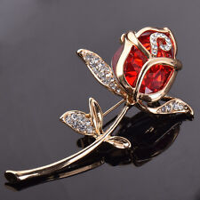 Crystal Red Rose Brooch Pin Flower Brooches for Women Girls Valentine's Gift