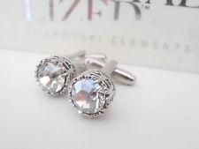 Swarovski Cuff Links Crystal Silver Shade Groom Wedding Bridal Cufflinks