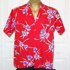 Vintage Barefoot in Paradise Mens XL Cotton Aloha Shirt Red Plumeria