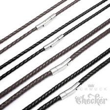 Echt Leder Halskette Lederband geflochten schwarz braun 19cm bis 60cm, 4mm 6mm