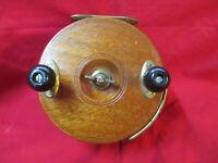 Vintage PEETZ Tackle Ltd  Center Pin  Brass Wooden Fishing Reel Ratchet & Drag