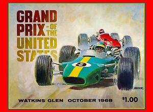 1968 Grand Prix United States Automobile Race Advertisement Vintage Poster