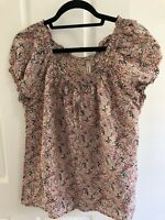 Piper Womens Multi Colour Short Sleeve Blouse With Gathered Neck Size 16
