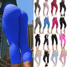 Women Yoga Pants High Waist Anti-Cellulite Capri Leggings Ruched Trousers Sports