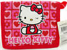 Hello Kitty Red Bi-fold Wallet Nylon and Vinyl. Hearts & Flowers, Hook and Loop