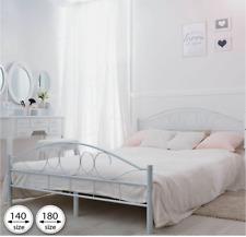 White Metal Bed Frame Super King Size Iron Luxury Design Sleep Sturdy Extra Big