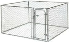 Chain Link 7.5 ft x 7.5 ft x 4 ft Dog Boxed Kennel Outdoor Easy Assembly Pet Pen