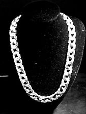 Men's Pimple 28 INCH Flat Link Chain Cast in 925 Sterling Silver 225 grams