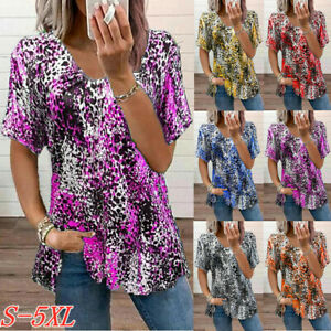 Summer Womens Leopard Print Blouse Short Sleeve V Neck Tops Casual Loose T Shirt