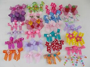 48  Fancy Dog Pet Child Baby Grooming Bows 2 sizes color variety Lot  # 135