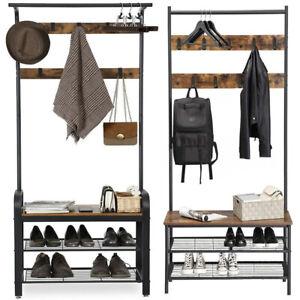 Coat Stand Hallway Shoe Rack Hanger Shelf Footwear Storage Vintage Wooden Black