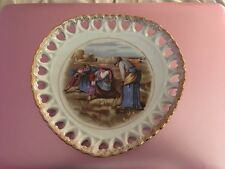 "Beautiful Heart Shaped Decorative ""Peasant Farmers"" Collector Plate"