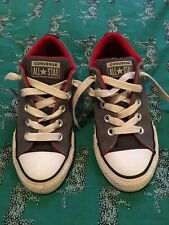 Converse All Star Boys Gray Red Black 13Y Youth Shoes Sneakers Girl