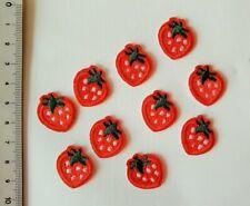 10x Erdbeeren Applikationen Aufbügler Patches Kinder Nähen Aufnäher