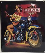 Ande Rooney HARLEY DAVIDSON PLAYIN AROUND BABE Pin Up Girl Tin Motorcycle Sign