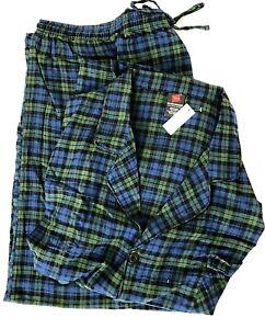 Hanes Men's Cotton Flannel Pajama Set Size 4XL 4X Blue Plaid Lightweight