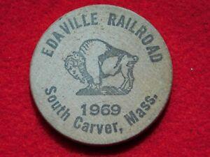 VINTAGE WOODEN NICKEL 1969 EDAVILLE RAILROAD SOUTH CARVER MASS