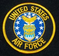 "UNITED STATES  AIR FORCE  Patch 3"" Patch Round with Gold Letters"