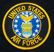 """UNITED STATES  AIR FORCE  Patch 3"""" Patch Round with Gold Letters"""