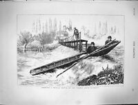 Original Old Antique Print 1878 River Thames Richmond Boat Shooting Weir Rapids