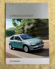 Vauxhall Corsa C Club Eco Brochure, 2002 Models 1.0-12v