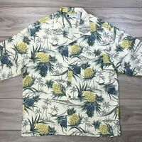 LL Bean Men's Travel Hawaiian Aloha Pineapple Short Sleeve Silk Shirt Size XL