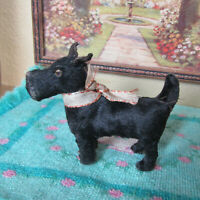 Antique BLACK FUR SCOTTIE DOG GERMANY Schuco? Doll Dollhouse Miniature Scotty