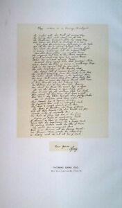 1898 Facsimile Thomas Gray 1750 Elegy In A Country Graveyard + Transcript